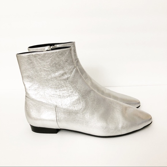 Zara Shoes Silver Flat Laminated Goat Leather Boots Poshmark